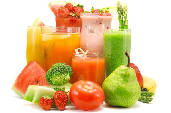 sucos de frutas e legumes